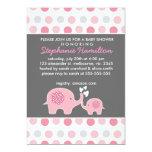 Custom elephant polka dots baby girl shower 5x7 paper invitation card