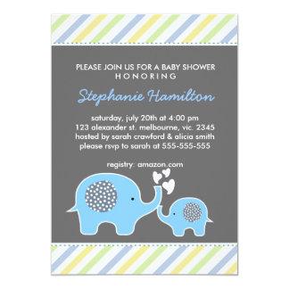 Custom elephant stripes baby boy shower card