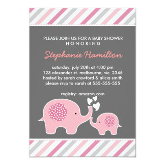 Custom elephant stripes baby girl shower card