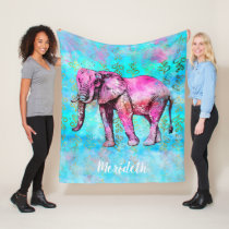 Custom Elephant Watercolor Pink Blue Trendy Fleece Blanket