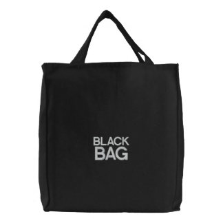 Custom Embroidered Bag, Black Bag, Quote Color Embroidered Tote Bag