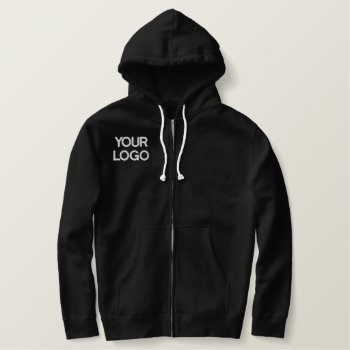 Custom Embroidered Sherpa-lined Zip Hoodie by CREATIVEforBUSINESS at Zazzle