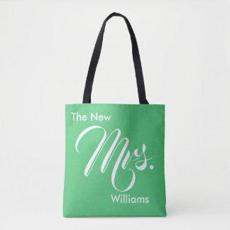 Custom Emerald Green The New Mrs. Tote Bag