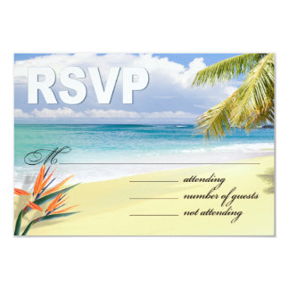 CUSTOM EMERALD WATERS RSVP (Beach) Card