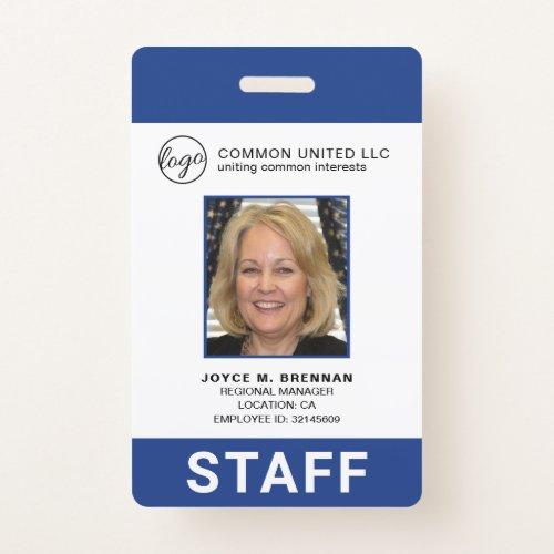 Custom Employee Blue Logo Photo ID Badge