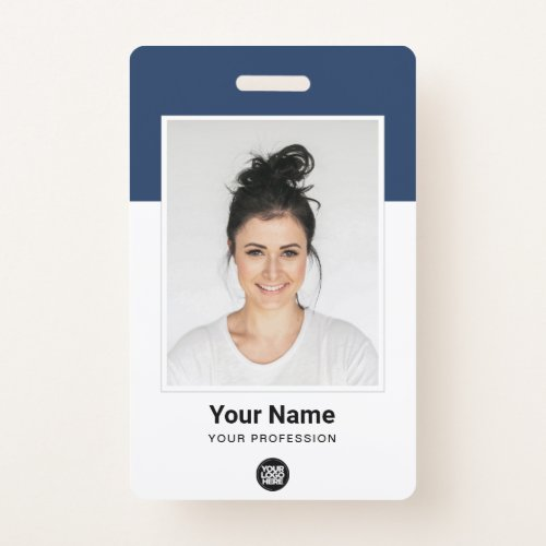 Custom Employee _ Large Photo BarCode Logo Name Badge
