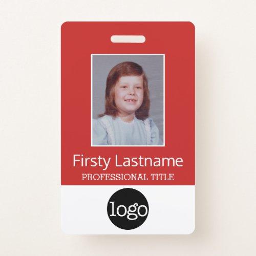 Custom Employee _ Photo Bar Code Logo Name Badge