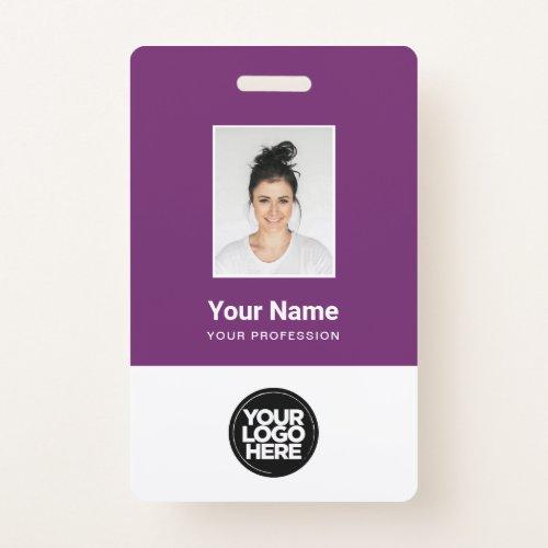 Custom Employee Photo Bar Code Logo Name Badge