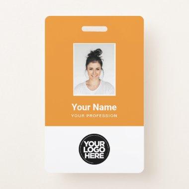 Custom Employee Photo, Bar Code, Logo, Name Badge
