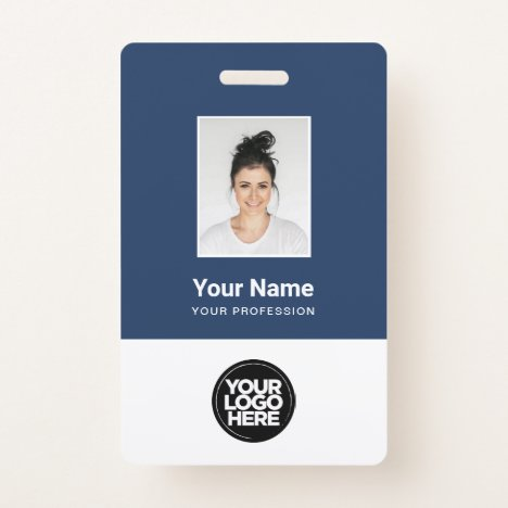Custom Employee Photo, Bar Code, Logo, Name Badge