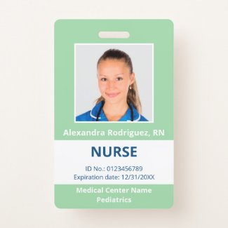 Custom Employee Photo Light Green White Medical ID Badge