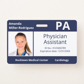 Custom Employee Photo Navy Blue Hospital ID Badge