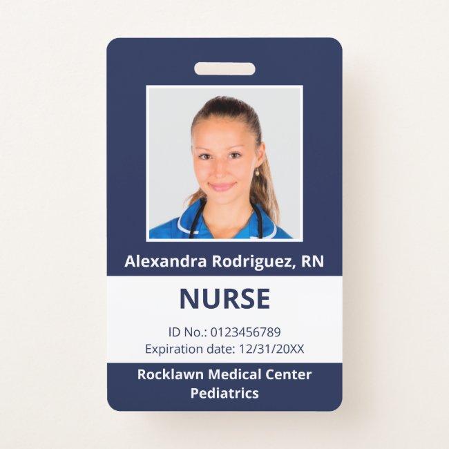 Custom Employee Photo Navy Blue White Medical ID Badge