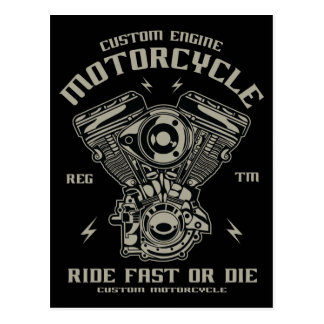 Custom Engine Motorcycle Ride Fast Or Die Postcard
