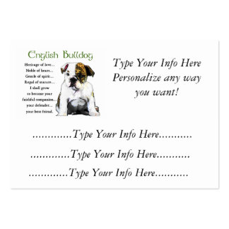 Custom English Bulldog Profile Cards Large Business Cards (Pack Of 100)