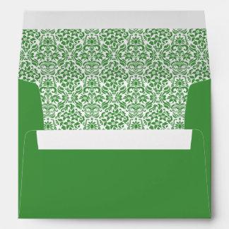 Custom Envelope with Return Address - Green Damask