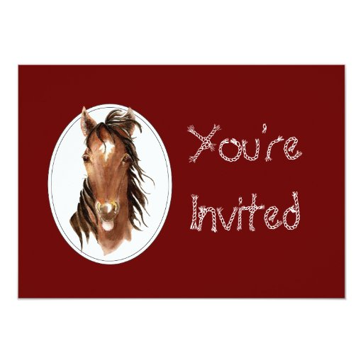 Custom Equestrian Horse Event, Contest or Party 5x7 Paper Invitation Card