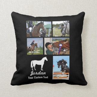 Custom Equestrian Horse Riding Photo Collage Name Throw Pillow