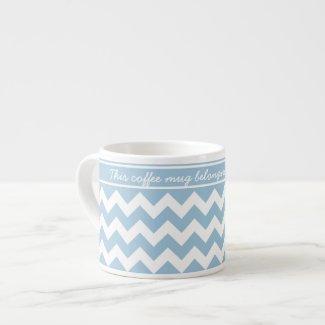 Custom Espresso Mug, Blue and White Chevrons