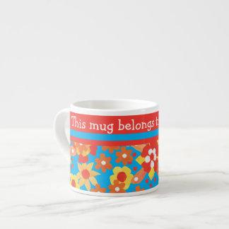 Custom Espresso Mug: Ditsy Orange Flowers Espresso Cup