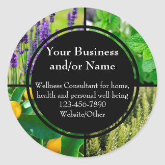 Custom Essential Oil Business Bottle Contact Label Classic Round Sticker