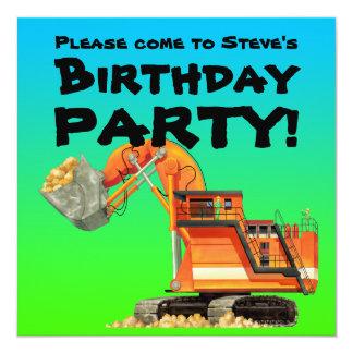 Custom Excavator Party Invitations
