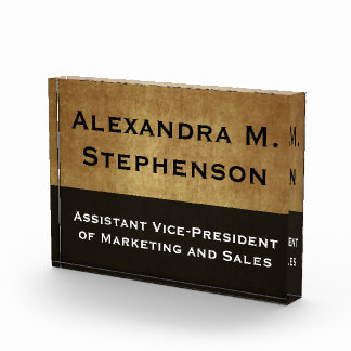 Custom Executive Desk Name Plate Acrylic Award