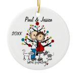 Custom Expectant Couple 2 Cats Christmas Ornament