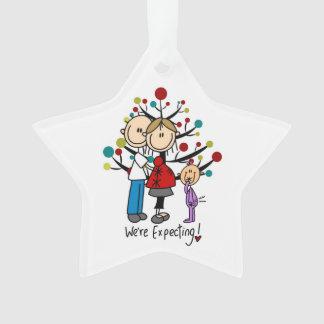 Custom Expectant Couple and Girl Acrylic Ornament