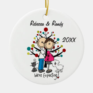 Custom Expectant Couple, Cat, Dog Ornament