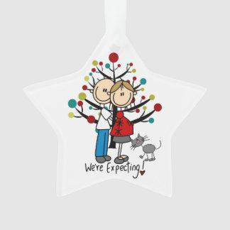 Custom Expectant Couple With Cat Acrylic Ornament