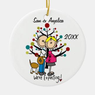 Custom Expectant Couple With Dog Ornament