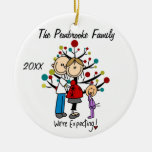 Custom Expectant Couple with Toddler Girl Ornament