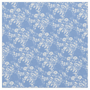 Blue And White Floral Fabric Zazzle