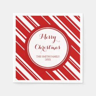 Custom Family Christmas Red Stripes Napkins at Zazzle