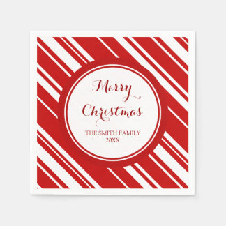 Custom Family Christmas Red Stripes Napkins