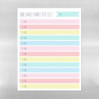 Custom Family Daily Planner or Homeschool Schedule Magnetic Dry Erase Sheet