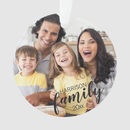 Custom FAMILY dark text 2_Photo Keepsake Ornament
