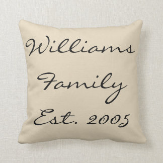 Custom Family (many background colors available) Throw Pillow