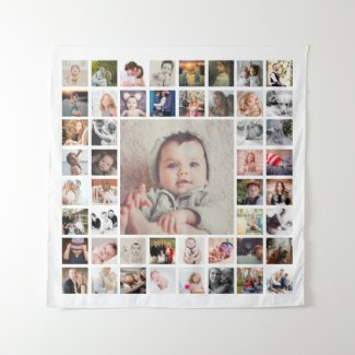 Custom Family Memories Personalized Photo Collage Tapestry