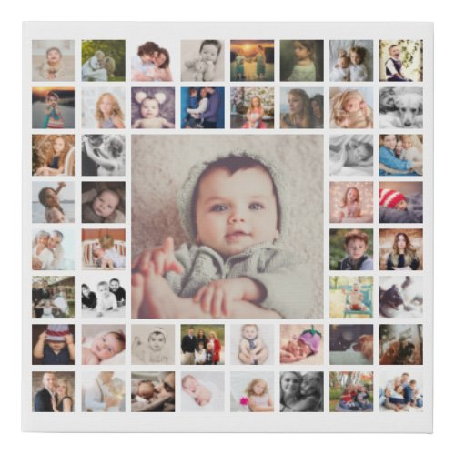 Custom Family Memories Photo Collage Personalized Faux Canvas Print