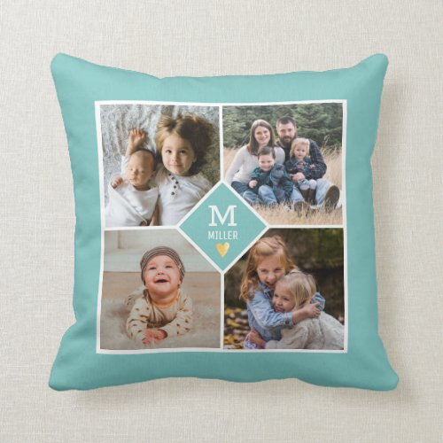 Custom Family Monogram 4 Photo Collage Aqua Green Throw Pillow