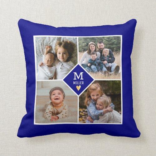 Custom Family Monogram 4 Photo Collage Navy Blue Throw Pillow