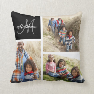 Custom Family Monogram Black Photo Collage Pillow at Zazzle