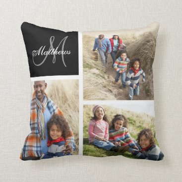 monogramgallery Custom Family Monogram Black Photo Collage Pillow