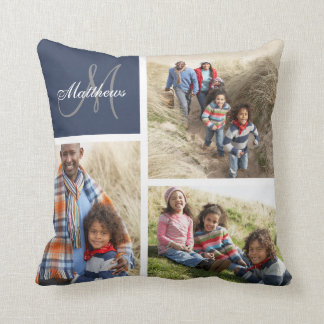 Custom Family Monogram Blue Photo Collage Pillow