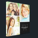 """Custom Family Monogram Photo Collage Canvas Print<br><div class=""""desc"""">Beautiful personalized canvas wall art print with 3 of your custom family photos arranged in a square grid photo collage with your family name and monogram in the bottom corner. Add your favorite family photos and create a beautiful keepsake canvas art print. Click Customize It to move photos around, change...</div>"""
