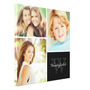 Custom Family Monogram Photo Collage Canvas Print at Zazzle