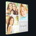 "Custom Family Monogram Photo Collage Canvas Print<br><div class=""desc"">Beautiful personalized canvas wall art print with 3 of your custom family photos arranged in a square grid photo collage with your family name and monogram in the bottom corner. Add your favorite family photos and create a beautiful keepsake canvas art print. Click Customize It to move photos around, change...</div>"