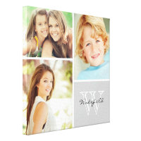Custom Family Monogram Photo Collage Canvas Print